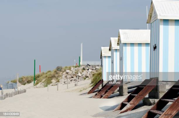 Cabanes de plage à Hardelot, Le Touquet, France