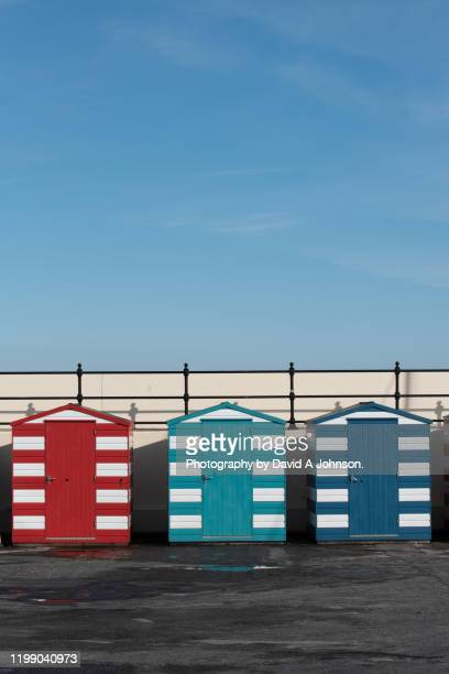 beach huts at north berwick, scotland. - beach hut stock pictures, royalty-free photos & images