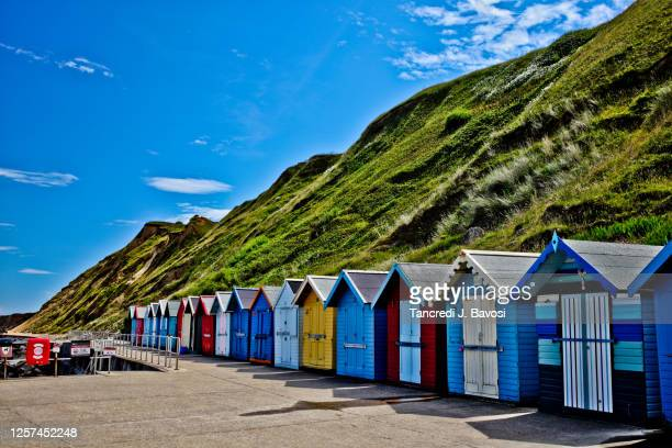 beach huts at sheringham norfolk - bavosi stock pictures, royalty-free photos & images