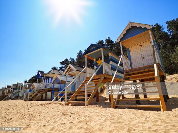 beach huts at the seaside - beach hut stock pictures, royalty-free photos & images