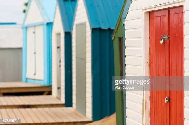 Beach huts detail, Abersoch, Llyn Peninsula, Gwynedd, Wales, United Kingdom, Europe