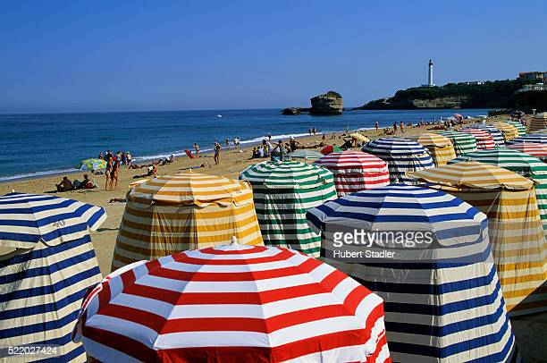 beach huts in biarritz - biarritz stock pictures, royalty-free photos & images