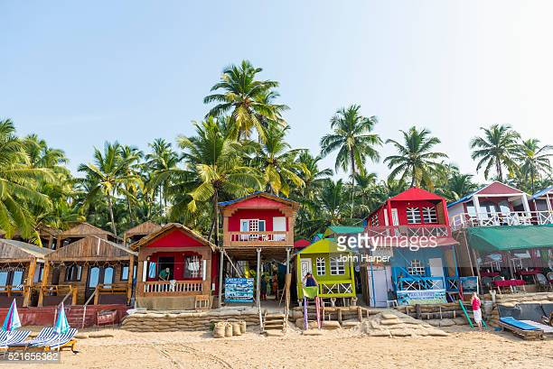 beach huts in goa, india - shack stock pictures, royalty-free photos & images