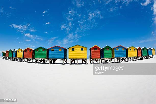 beach huts muizenberg cape town south africa - mlenny stock pictures, royalty-free photos & images
