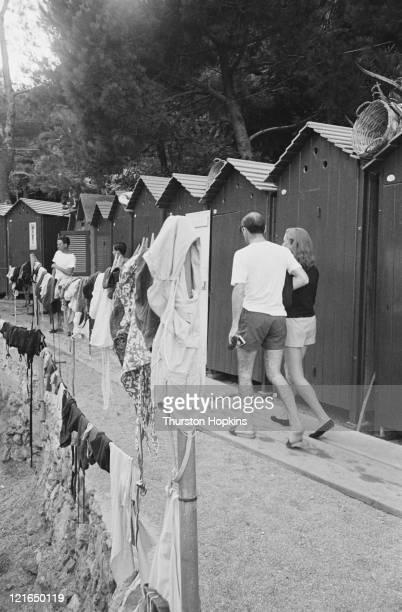 Beach huts on Paraggi Beach near the tourist resort of Portofino Italy August 1952 Original Publication Picture Post 6023 unpub