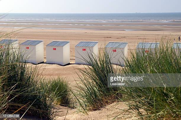 beach huts - belgium stock pictures, royalty-free photos & images