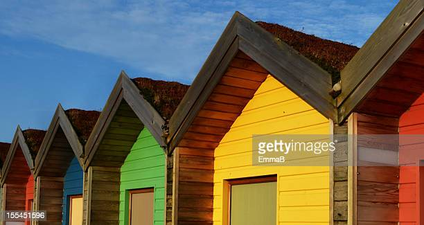 beach huts - blyth northumberland stock pictures, royalty-free photos & images