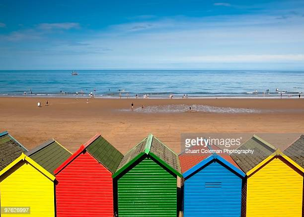 beach huts - whitby north yorkshire england stock pictures, royalty-free photos & images