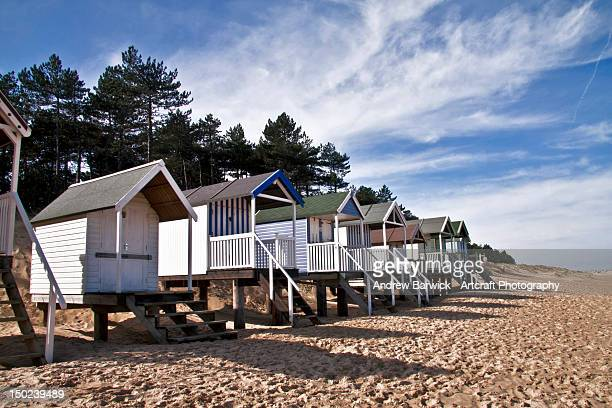 Beach huts, sand and sky