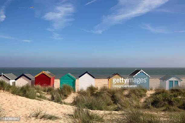 beach huts, southwold, east anglia (xxxl) - coastline stock photos and pictures