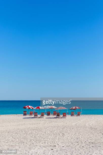 beach in a beautiful day in miami beach - florida - miami beach stock pictures, royalty-free photos & images
