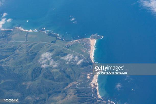 Beach in California, daytime aerial view from airplane