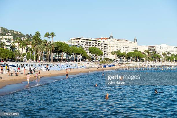beach in cannes,  france - cannes stock pictures, royalty-free photos & images