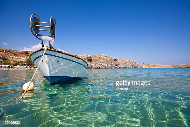 beach in greece - lindos stock photos and pictures