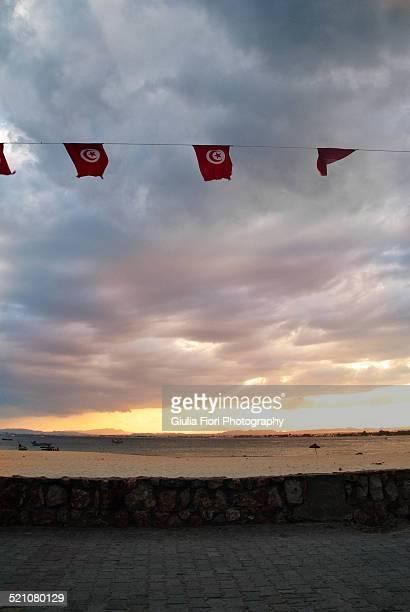 beach in hammamet at sunset - drapeau tunisien photos et images de collection