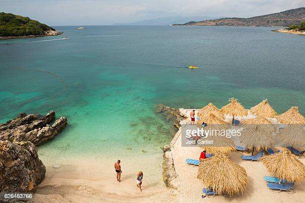 beach in ksamil, albania - albania stock pictures, royalty-free photos & images
