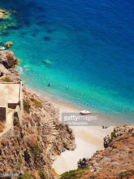 beach in kythera - peloponnese stock photos and pictures