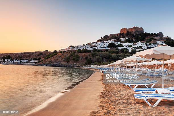 beach in lindos - lindos stock photos and pictures