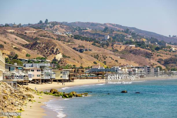 beach in malibu on a sunny day, la, california, usa - malibu stock pictures, royalty-free photos & images