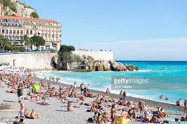 beach in nice, france - nice france stock pictures, royalty-free photos & images