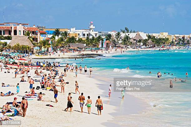 beach in playa del carmen - playa del carmen stock pictures, royalty-free photos & images