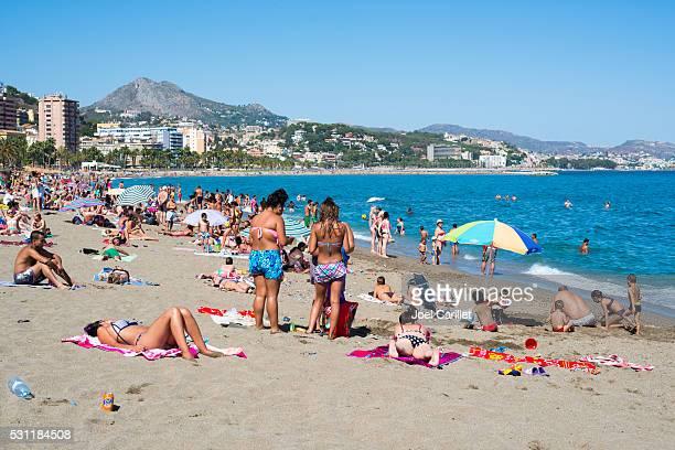Beach in summer in Malaga, Spain