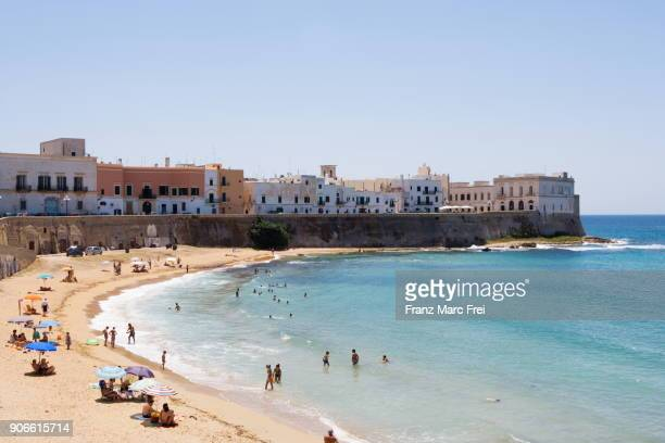 beach in the old town of gallipoli,salento, apulia, italy - gallipoli stock pictures, royalty-free photos & images