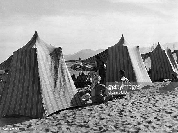 Beach life at Eden Roc Cap Antibes on the French Riviera 1938 Photographer Regine Relang Published by 'Die Dame' 13/1938 Vintage property of ullstein...