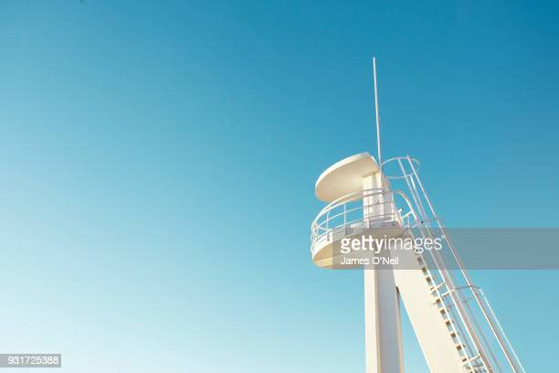 beach lifeguard lookout tower, alicante, spain - lookout tower stock pictures, royalty-free photos & images