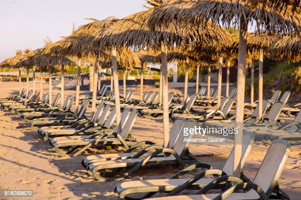beach lounge chairs at the beach of the tourist resort in antalia, turkey - belek stock pictures, royalty-free photos & images