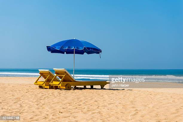 Beach loungers and Parasols, Bentota Beach, Sri Lanka