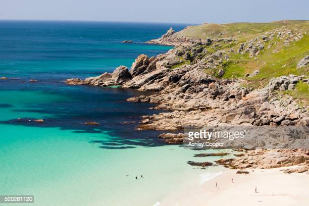 a beach near porthcurno - porthcurno stock pictures, royalty-free photos & images