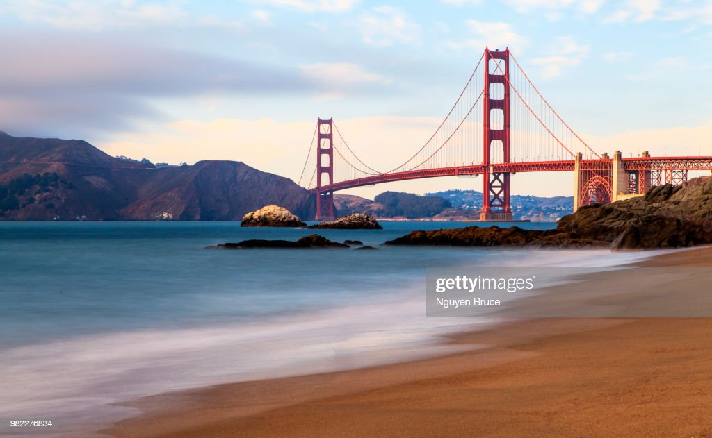 A Beach Next To The Golden Gate Bridge In San Francisco California Usa