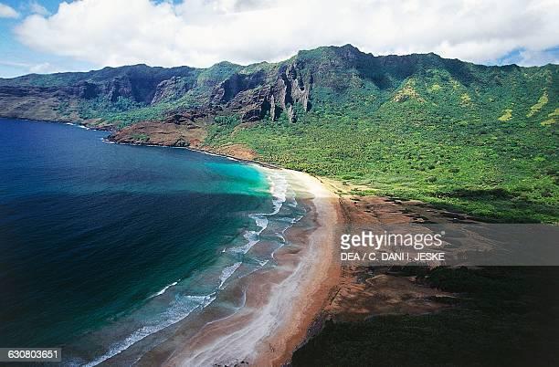 Beach of Aakapa bay Nuku Hiva aerial view Marquesas islands French Polynesia