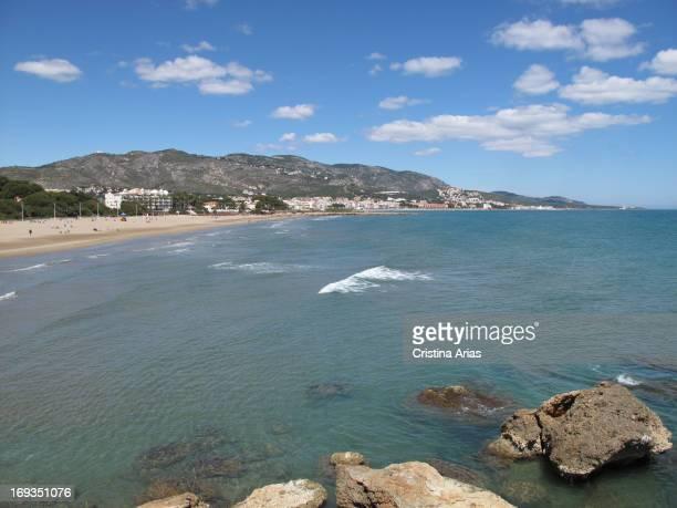Beach of La Romana and Alcossebre coast Castellon Valencian Comunity Spain April 2012