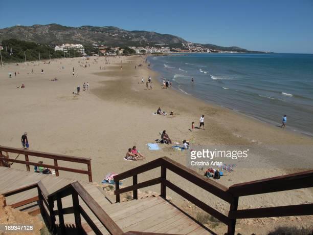 Beach of La Romana in Alcossebre Castellon Valencian Comunity Spain April 2012