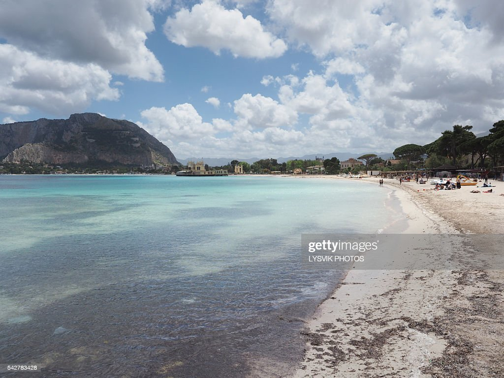 Beach Of Mondello Seaside Resort Near Palermo Stock Photo