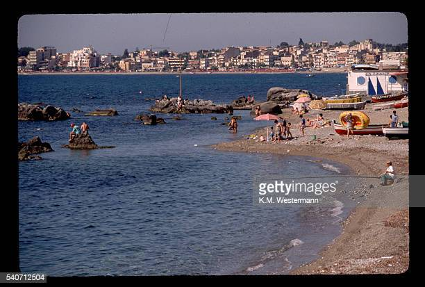 beach of naxos, sicily - naxos sicily stock pictures, royalty-free photos & images