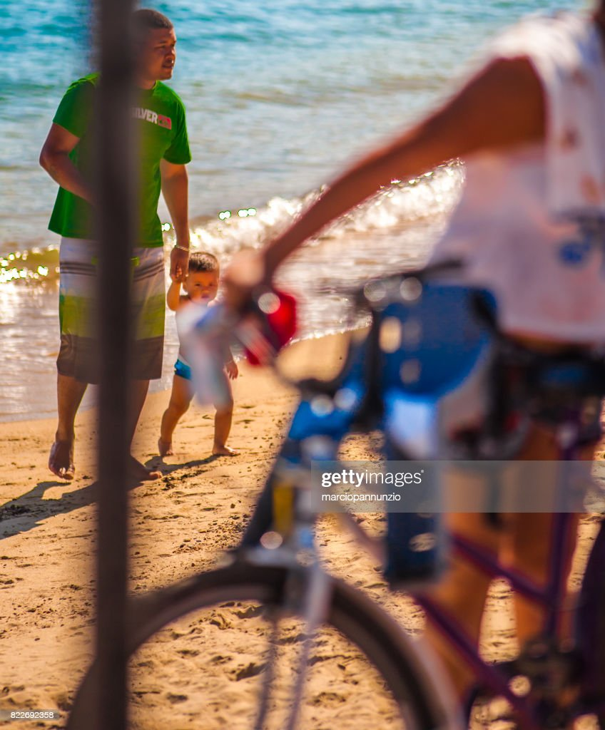Beach of Perequê in Ilhabela, Brazil, sunny morning : Stock Photo