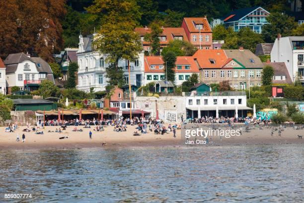 Beach of river Elbe in Hamburg Blankenese