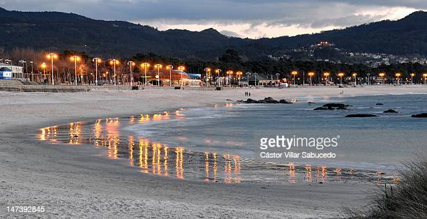 beach of samil in vigo - vigo stock pictures, royalty-free photos & images