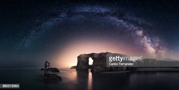 beach of the cathedrals - arch stock pictures, royalty-free photos & images