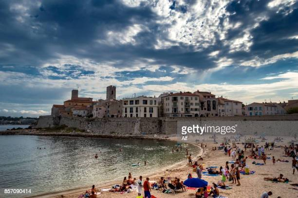 Beach of the Gravette in Antibes, French Riviera, France