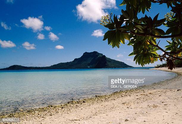 Beach on Motu Pitiahe Maupiti island Society islands French Polynesia