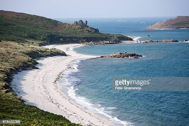 beach on st. martins island, isles of scilly, united kingdom, europe - islas de gran bretaña fotografías e imágenes de stock