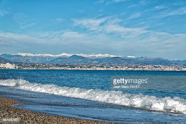 beach on the french riviera in winter - jean marc payet stock pictures, royalty-free photos & images