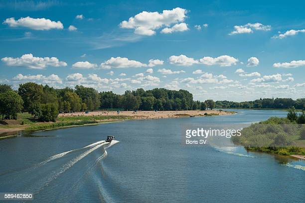 Beach on the Kotorosl' River where it merges with Volga River, Yaroslavl'm Russia