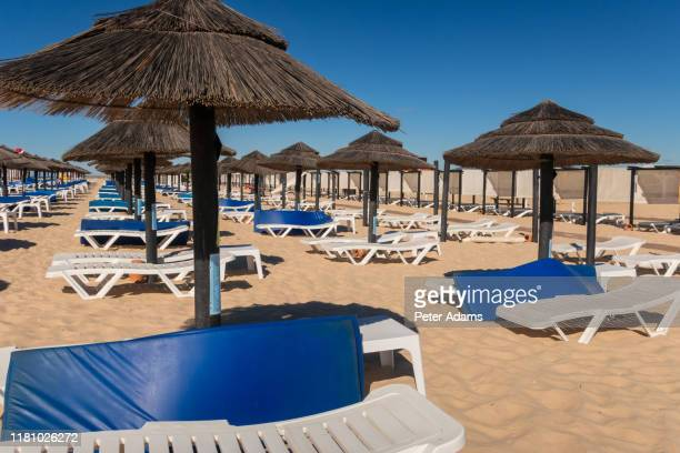 beach parasols and sunloungers on the beach on ilha de tavira, southern algarve, portugal - peter adams stock pictures, royalty-free photos & images