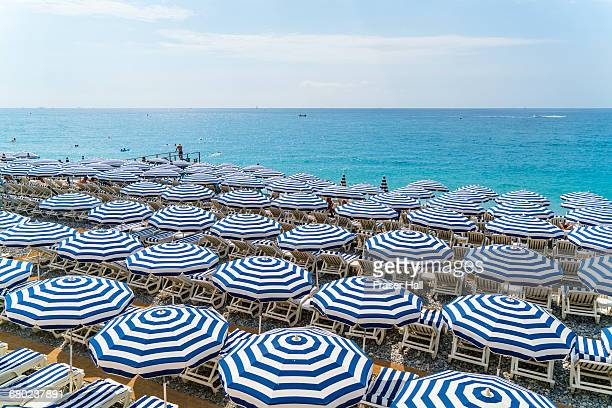 beach parasols, nice, cote d'azur, france - french riviera stock pictures, royalty-free photos & images
