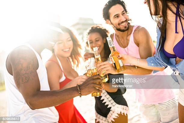 beach party in miami, friends have fun